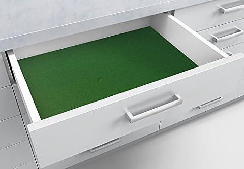 Wall-Art - Schubladenfolie, Schubladenmatte, Schubladeneinlage - Velour Samteffekt - selbstklebend - rutsch- und kratzfest - in grün