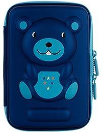 Ofsign Multipurpose Cute Bear Art Blue Pencil Pouch
