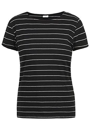 Komfortabler V-neck Tee (JACQUELINE de YONG by Only AVA T-Shirt Kurzarm Shirt mit Rundhals-Ausschnitt Aus Hochwertiger Baumwollmischung mit Streifen, Größe:XL, Farbe:Black)