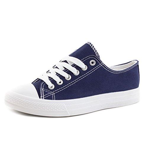 Trendige Unisex Damen Kinder Herren Schnür Sneaker Low Top Schuhe Canvas Textil Blau/Weiß