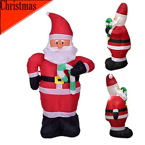 LCLrute Foot Long Christmas Inflatable Santa Claus, and Penguin, with Gift in Sleigh Pulled by 2 Reindeer Lights Lighted Blowup, Party Decoration for Outdoor Indoor Home,Garden Family Prop Yard (B)
