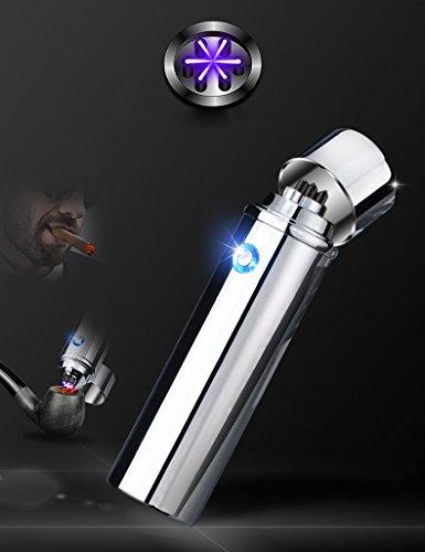 Triple Arc Elektrische Zigarre Feuerzeug, zylindrisch winddicht flammenlose USB wiederaufladbar Plasma Coil Feuerzeug Weihnachten Herren Geburtstag Geschenk, silber