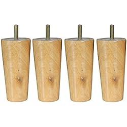 4pcs Sillas de Gran Tamaño Patas de Sofá Silla Tabla Mesa Eucalipto Maciza Forma de Cono Muebles Madera - Natural, 4 * 6 * 12cm
