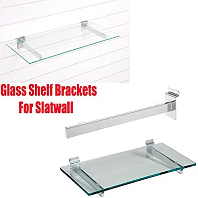 New Glass Shelf Brackets For Slatwall With Suction Pads For Glass 5 Sizes 15,20,25,30,35 Cm