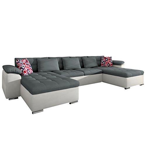 Ecksofa Wicenza Grand! Design Big Sofa Eckcouch Couch! mit Schlaffunktion Bettfunktion! Wohnlandschaft! U-Form, schmutzabweisender Stoff (Soft 017 + Granada 2725 + Amber 70)
