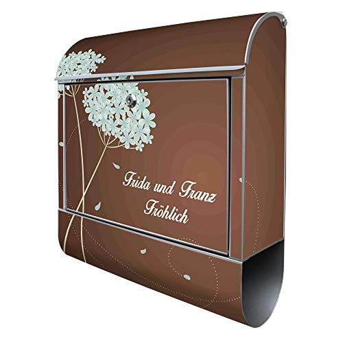 Banjado Design Briefkasten personalisiert mit Motiv WT Blaue Hortensie | Stahl pulverbeschichtet mit Zeitungsrolle | Größe 38x47x14cm, 2 Schlüssel, A4 Einwurf, inkl. Montagematerial mit Beschriftung
