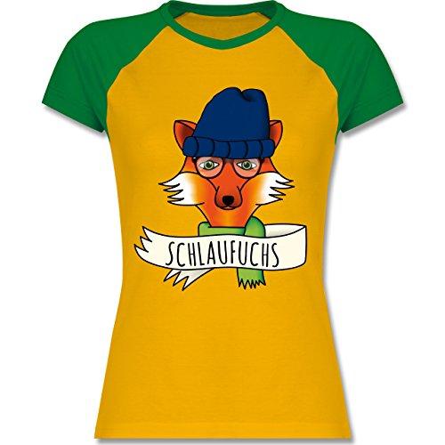 Eulen, Füchse & Co. - Schlaufuchs - zweifarbiges Baseballshirt / Raglan T-Shirt für Damen Gelb/Grün