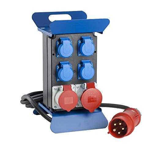 as - Schwabe Tragbarer CEE-Stromverteiler STECKY 3 - CEE-Stecker + 4 Schuko-Dosen + 2 CEE-Buchsen - Mobiler Stromverteilerkasten - Verteilerdose für den Außenbereich - IP44 - Made in EU I 60510