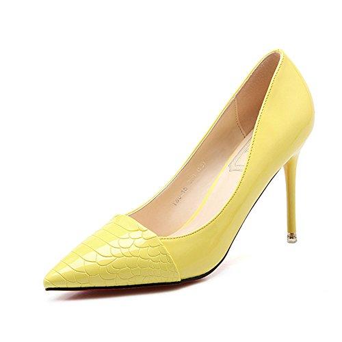 Damen Pumps Spitze Slip On Kurzschaft Stilettos Neuheiten Brautschuhe Gelb