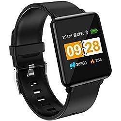 HGHUA Tracker de Fitness GPS Montre Moniteur de fréquence Cardiaque, Montre connectée pour Course à Pied avec Montres étanches pour Homme Bracelet Anti-Perte Alarme de Couple Surveillance a