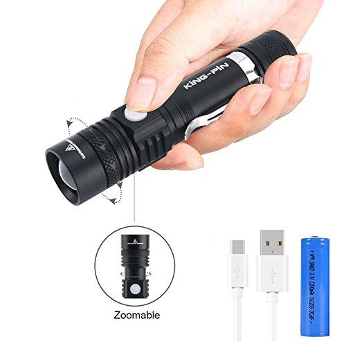 LED Taschenlampe Zoombar USB Wiederaufladbare Taschenlampen - King-Pin Einstellbarem Fokus Taschenlampen IPX4 Wasserdicht 5 Modi 1000 Lumen Perfekt für Haushalt, Stromausfall, Garage, Notfall, Campen, Angeln, Outdoor