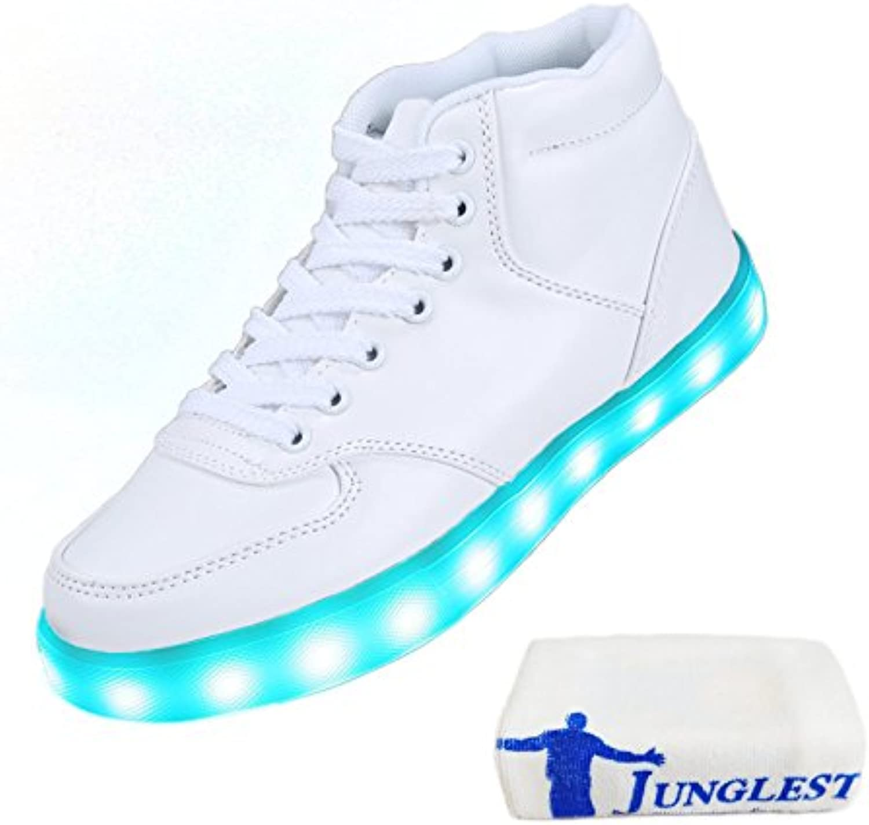 [Presente:Pequeña Toalla] JUNGLEST® 7 Colores Altas Top USB Carga LED Luz Glow Luminosos Light Up Flashing Sneakers... -