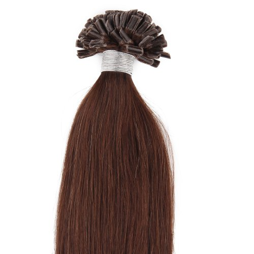 Beauty7 100 Extension de Cheveux Naturel U-Tip Pose à Chaud Nail Tip Longuer 56CM Couleur #4 Chocolat 0.5g/mèche Total 50g
