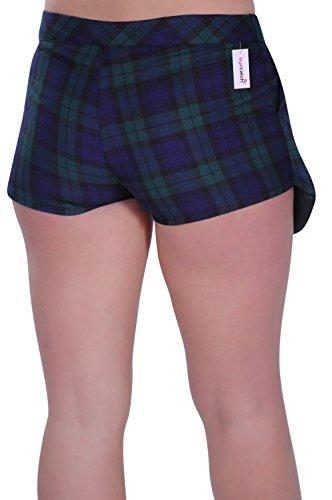 Eyecatch - Aux Femmes Short Tartan Chèque Mini Dames Mode Jupe Pantalon Vert Marine Tartan