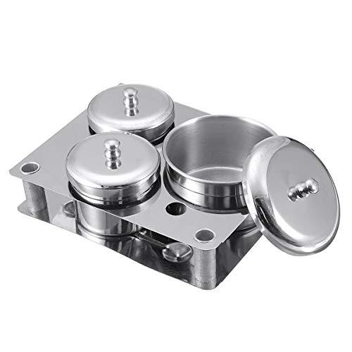 ExcLent 3Pcs Stainless Steel Dappen Dish Liquid & Powder Holder Base Organizer Tools Kit -