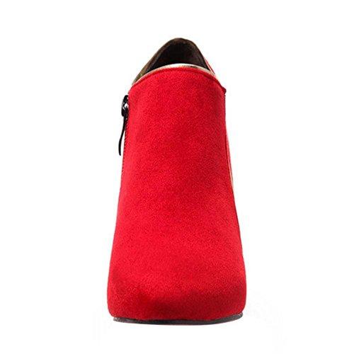 TAOFFEN Femmes Botines Bottes Fermeture Eclair red