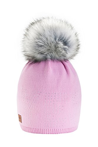 Gorro 4sold, de lana, de invierno, para mujer, forro polar, grande, con pompón de pelo, gorro de esquí y snowboard, Bobble Rosa rosa Talla única