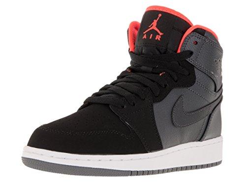 Nike Jungen Air Jordan 1 Retro High BG Basketballschuhe Orange / Schwarz / Grau (MTLC Hmtt / HYPR Orng-Blk-Cl Gry)