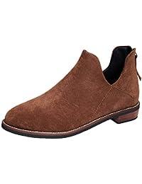 Mujer zapatos planos slip on cremallera,Sonnena ❤️ Zapatos de punta redonda para mujer Botines de color puro con cremallera Zapatos de tacón cuadrado Botas Martin