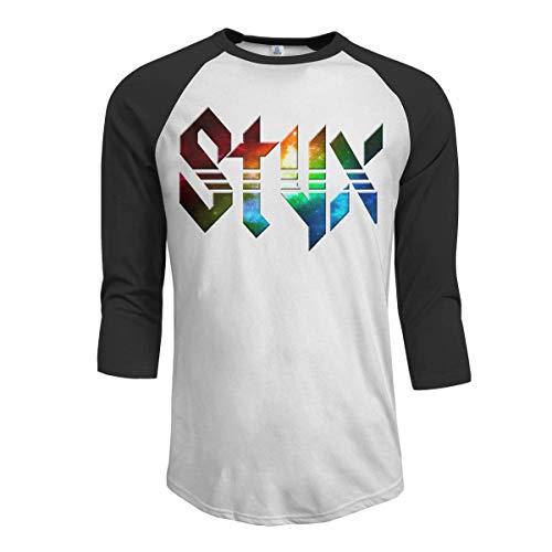 Heyuanqinkeji Styx Men's 3/4 Sleeve Raglan Baseball T-Shirts Black,Black,Large -