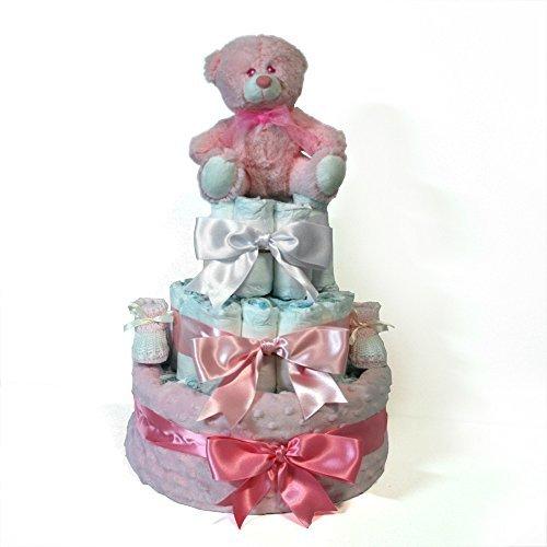 Tarta pañales niña Dodot - Manta Topitos rosa -