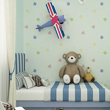 Kinderzimmer Tapete Mädchen und Jungen Importiert Vliestapete Cute Cartoon ABC Boy Girl (Jungen Importiert)