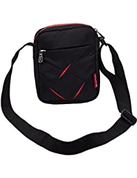 Small Sling Bag for Men - Cosmus Index-Small Bag for Mobile & Wallet- Black & Red