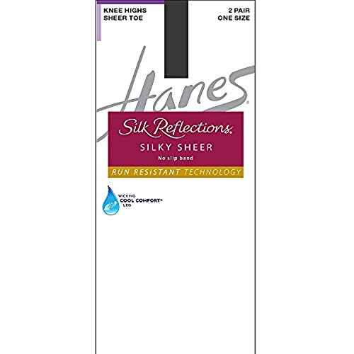 By Hanes Silk Reflections Run Resistant No-Slip Band Knee Highs 2-Pair Pack_Barely Black_One Size