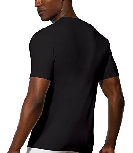 Doreanse Herren T-Shirt tiefer Ausschnitt Shirt Mens T-Shirt Deep V-Neck Muscle Shirt Schwarz