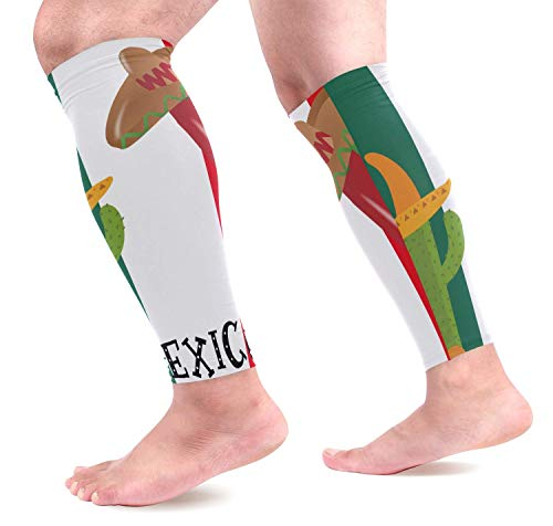 dfegyfr Cactus Mexico Flag Sports Calf Compression Sleeves Leg Compression Calf Sleeve for Runners Men Women (1 Pair)