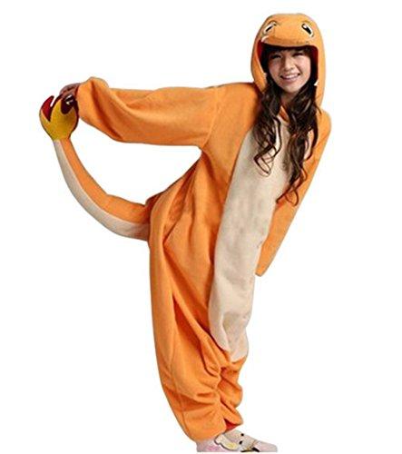 Unisex-Schlafanzug / Einteiler im Design der Pokémon-Figur Glumanda, für Erwachsene, auch als Kostüm für Halloween, Kigurumi und Cosplay geeignet (Diy Kostüme Erwachsene)