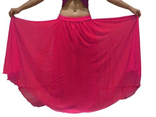 (Passend für S / M bis XXL - 6m Bauchtanz Kostüm Rock Wavy Edged UK SIZE 10-24 - Wähle Länge & Farbe (Länge außen Bein 34 / 35inch, Redy Pink))