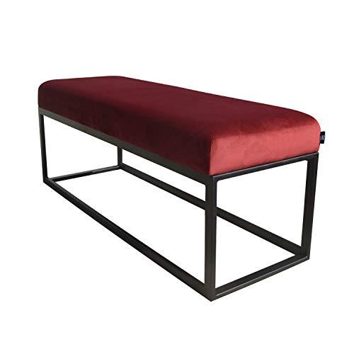 Damiware Couchy Sitzbänke   Esszimmer, Küche, Wohnzimmer   Mikrofaser Leder und Metallbeine (Samt Rot) -