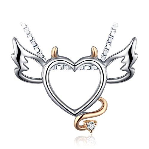 JewelryPalace 0.05ct Kubische Zirconia Nette Teufel Anhänger Halskette 925 Sterling Silber 18 Zoll