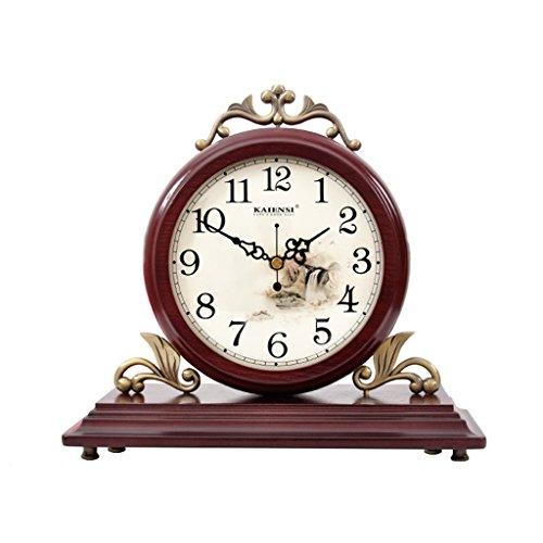 WEIJUN SHOP Massivholz Tischuhr, Retro Desktop Pendulum Stücke, Wohnzimmer Stumm Schreibtisch Uhr 9,8 × 10,6 Zoll (Farbe : A)