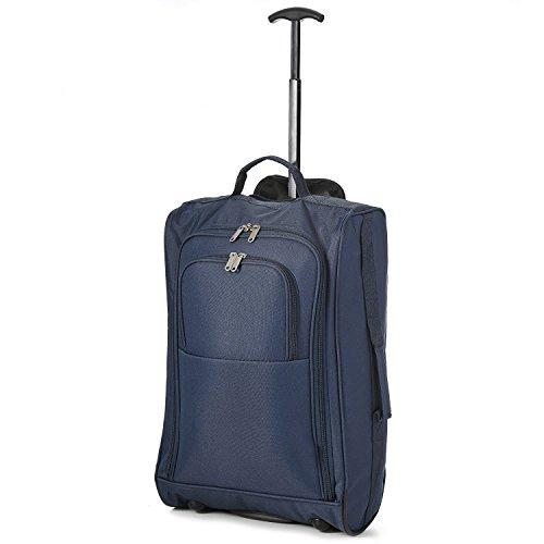 Valigia Trolley Morbido, Bagaglio a Mano Morbido in Tessuto, 54 x 35 x 19, Ideale a bordo di EasyJet Ryanair Alitalia Meridiana WizzAir, Bagaglio Morbido con Rotelle Girevoli, Blue