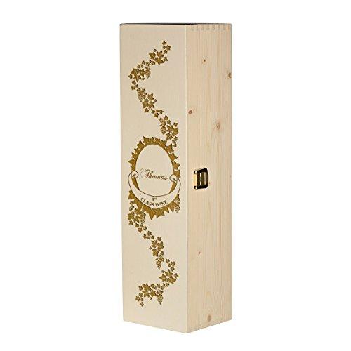 polar-effekt Weinkiste Holzbox mit Gravur - Personalisierte Geschenkbox für Weinflasche Weinpräsent - Aufbewahrungskiste Geschenkidee zum Geburtstag oder Weihnachten - Motiv erstklassiger Wein