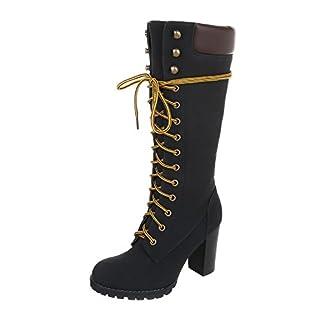 Schnürstiefel Damen-Schuhe Klassischer Stiefel Pump Schnürer Reißverschluss Ital-Design Stiefel Schwarz, Gr 38, Fr66-