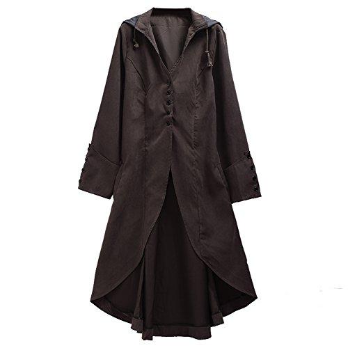 GRACEART Hombres Steampunk Tailcoat Victoriano Chaqueta Disfraz Halloween (Gris, Small) (Disfraces De Halloween De Hombres)