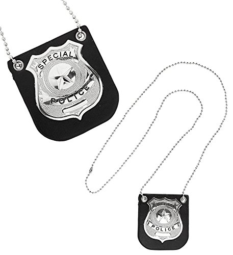 Widmann 05851.-Halskette Polizei Abzeichen, Einheitsgröße, Schwarz (Polizei Abzeichen Spielzeug)