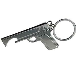 Porte Clés Décapsuleur Pistolet Gun - Métal Chromé
