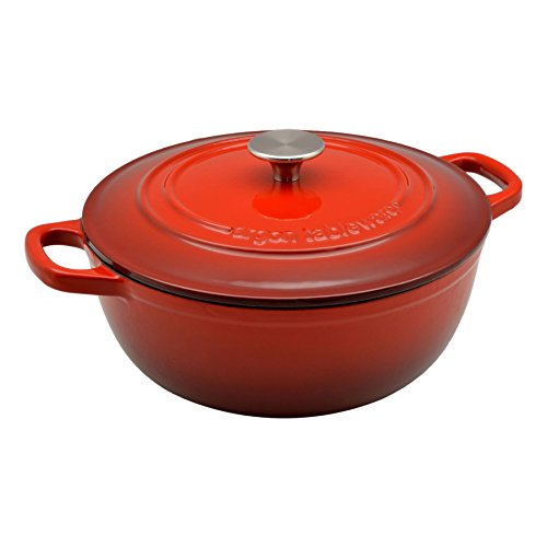 Argon Tableware 3.5L Round, Cast Iron Enamelled Casserole Dish, Oven Safe - Red