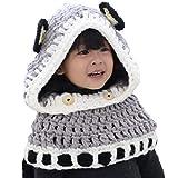 Chinashow Nette Mädchen-Jungen-Baby-Warmer Knit-Hut-Winter-strickende Hüte strickte mit Kapuze Schal-Mützen, Fox-Grau