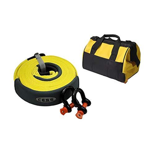 HX Geländewagenverdickung Zugseil, Zugseil, Kraftvoller Autozuggurt Mit SUV Leuchtendem Rettungswagen-Zuggurt (Size : 10t 6m+medium Hook (2)+Bag) -