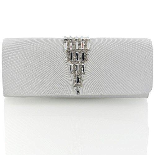 Essex Glam Elegant Satin Strassstein Damen Abendtasche Handtasche Weiß