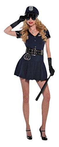 (erdbeerloft Damen Polizistin Kostüm, Uniform, Kostümset, Fasching, Karneval, 38, Blau)