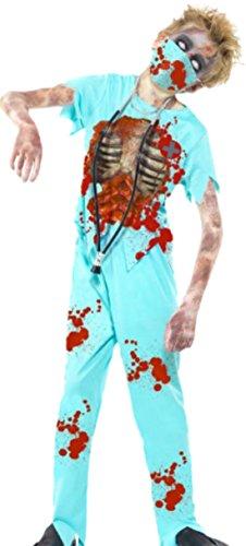 erdbeerloft - Jungen Zombie Chirurg Kostüm, Halloween, 4-teilig, 13-15 Jahre, Hellblau