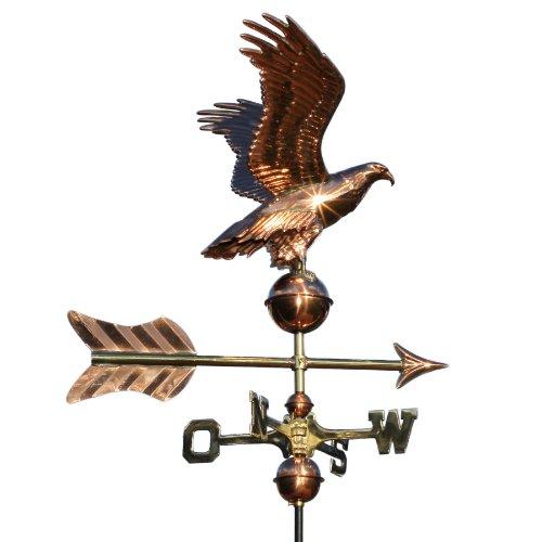 Linneborn 3D Kupfer Wetterhahn Motiv Adler, inkl. Universalbefestigung. 55 cm lang, Wetterhahn Windrichtungsanzeiger Windspiel fürs Dach