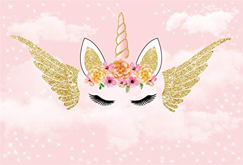 Cassisy 1,5x1,2m Polyester Einhorn Fotohintergrund Gold Angel Wings Rosa Tapete Blumen Parkette Pailletten Fotoleinwand Hintergrund für Fotostudio Requisiten Party Kinder Photo ()