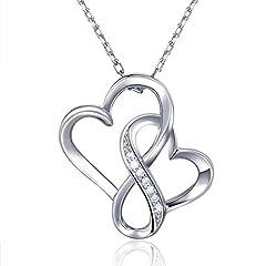 Idea Regalo - Billie Bijoux 925 sterline d'argento Infinito Doppio cuore Collana Amore senza fine Platino placcato Ciondolo di diamanti Regalo per le donne